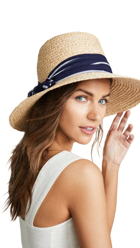 HAT ATTACK - Natural Hat with Navy and White Striped Scarf Accent