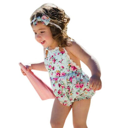 Rose Floral Printed Baby Romper with Headband - kidsstoreefw