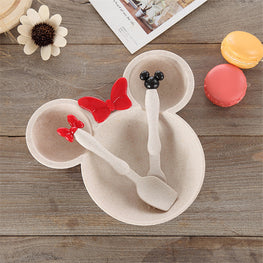 3 Pcs Baby Bamboo Tableware- Minnie & Micky Mouse - kidsstoreefw