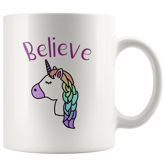 Unicorn Believe Mug 11oz Wht