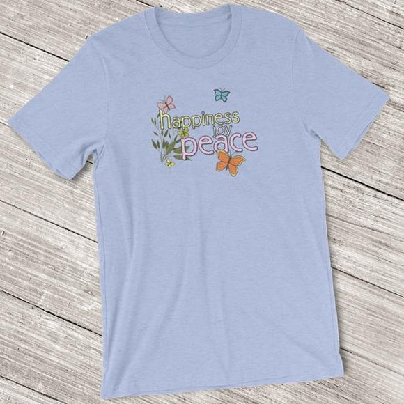 Happiness Joy Peace Butterfly Shirt for Women - Short-Sleeve (Adult) Heather Blue / S