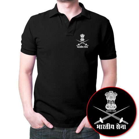 Bhartiya Sena Polo T-Shirt Black
