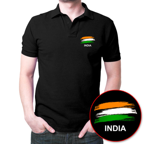 India Flag Polo T-Shirt Black