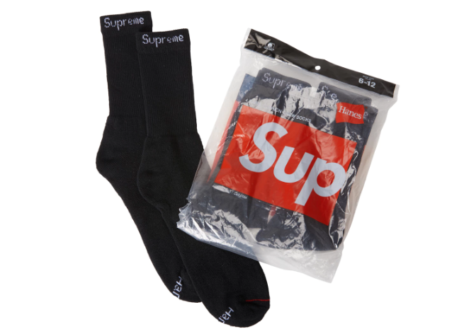 Supreme Hanes Socks (4 Pack) Black