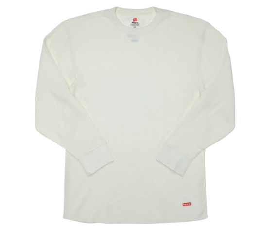 Supreme Hanes Thermal Crew (1 Pack) Natural (Size SMALL)