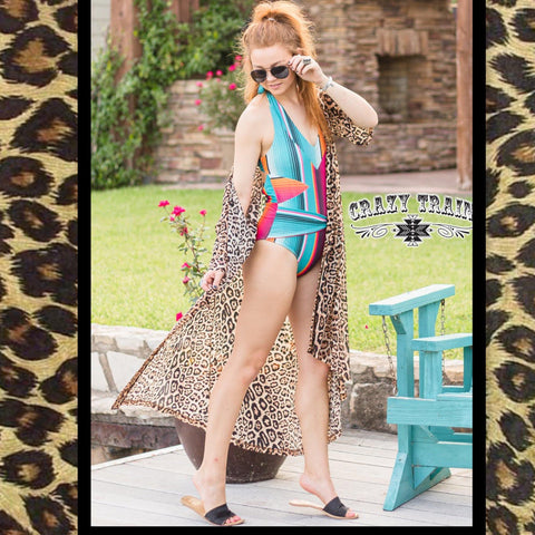 The Dixie Duster Leopard Animal Print Mesh Duster from Crazy Train