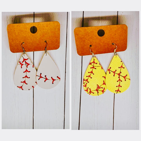 Theres No Crying In Baseball Leather Teardrop Baseball Softball Earrings Red Stitching