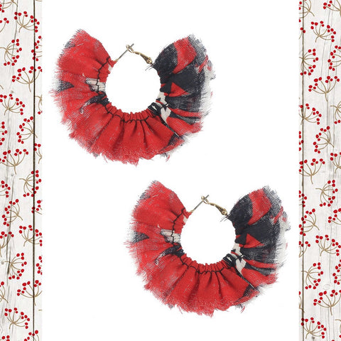 """Lady in Red""  Red & Black Fabric Earrings"