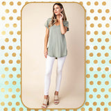 Sage Garment Washed Lace Trimmed Short Sleeve Top by Kori America