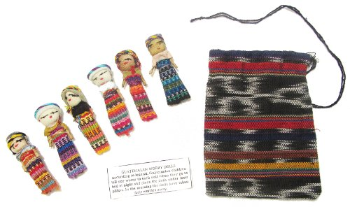 Six Large Worry Dolls With Pouch