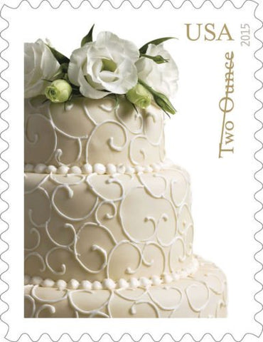 Sheet Of 20 Wedding Cake Two-Ounce Rate Forever Stamps By Usps