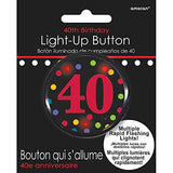 The Party Continuous 40Th Birthday Party Flashing Light Button , Black/Red , 2 Plastic