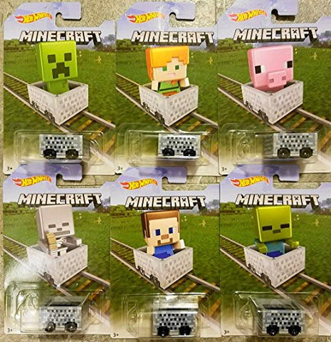 Hot Wheels Target Exclusive Complete Set Of 6 Minecraft Carts