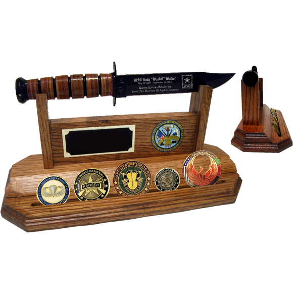 AR20 - ARMY COIN STAND-UP - HONEY OAK (KA-BAR and Coins not included)