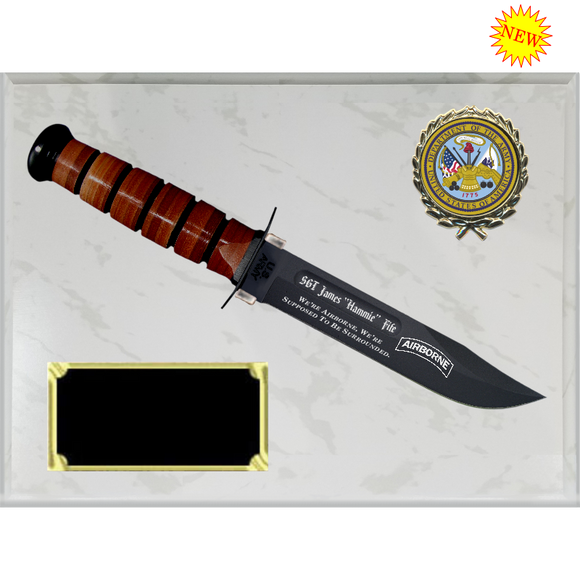 AR30 - ARMY WHITE MARBLE FINISH PLAQUE (KA-BAR not included)