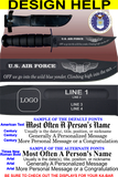 "AF86B - AIR FORCE Comm - ""OFF WE GO"" + YOUR PERSONAL ENGRAVING ON THE BACK"