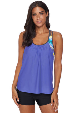 Sky Blue Blouson Striped Printed Strappy T-Back Push up Tankini Top