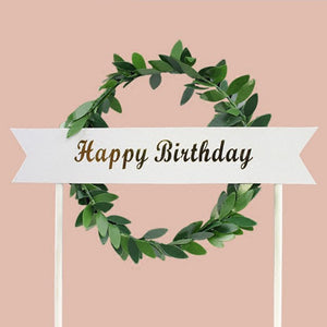 Leafy Birthday - Cake Topper - Miss Decorate