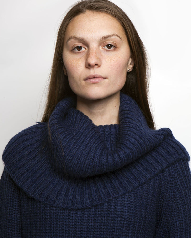 AVERY COWL NECK SWEATER MEDIEVAL BLUE Front View