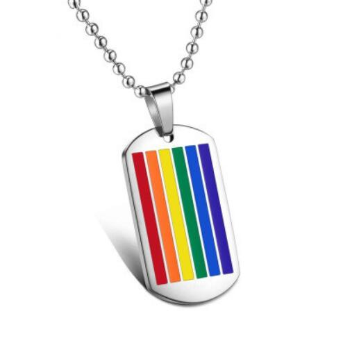 Gay Pride Rainbow Stainless Steel Dog Tag Necklace