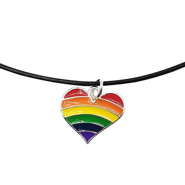 Gay Pride Rainbow Flag Silver Plated Heart Charm Necklace