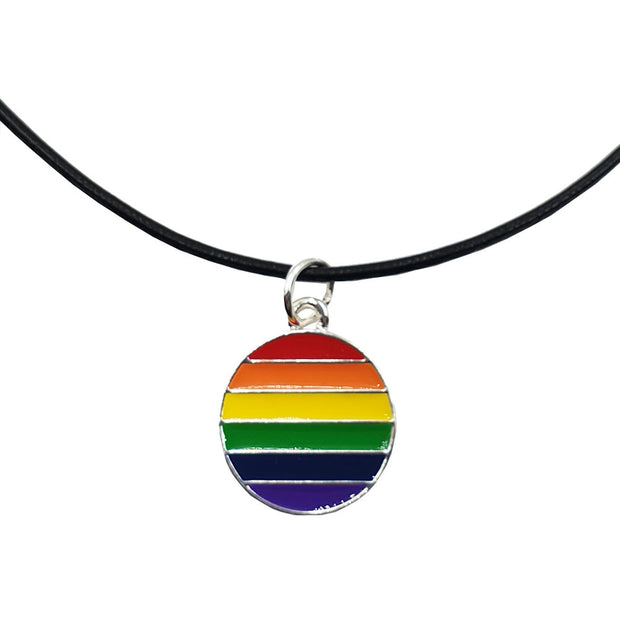 Gay Pride Rainbow Flag Silver Plated Round Charm Necklace