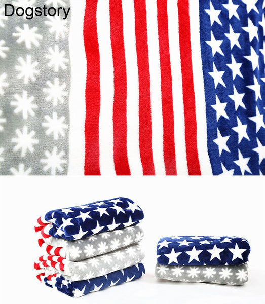 "Pet Dog Blanket Flannel Fabric Average Thick Super Soft Luxury Wraps Fabric Stripe And Stars American Design 35""28"" Pet mat"