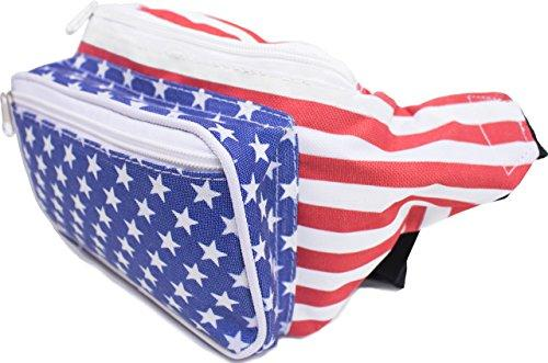 SoJourner American Flag Fanny Pack - USA, 4th Fourth of July, Stars and Stripes, Red, White and Blue