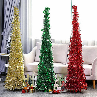 Artificial Tinsel Pop up Christmas Tree with Stand Gorgeous Collapsible Artificial Christmas Tree for Christmas Decorations
