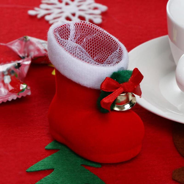 Christmas Decor Santa Claus Candy Mini Boots Home Party Gift Red Boots Christmas Decorations for Home New Years Gifts for Kids
