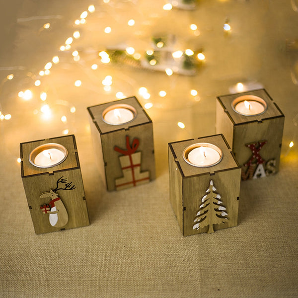 Navidad 2018 Wood Candle Holders Tealight Candlesticks Lantern Vintage Christmas Decorations for Home New Year Party Decor Gifts
