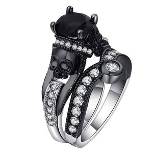 Skull Ring Set - Black Charm Ring, Cubic Zirconia Ring Set, Free Shipping.