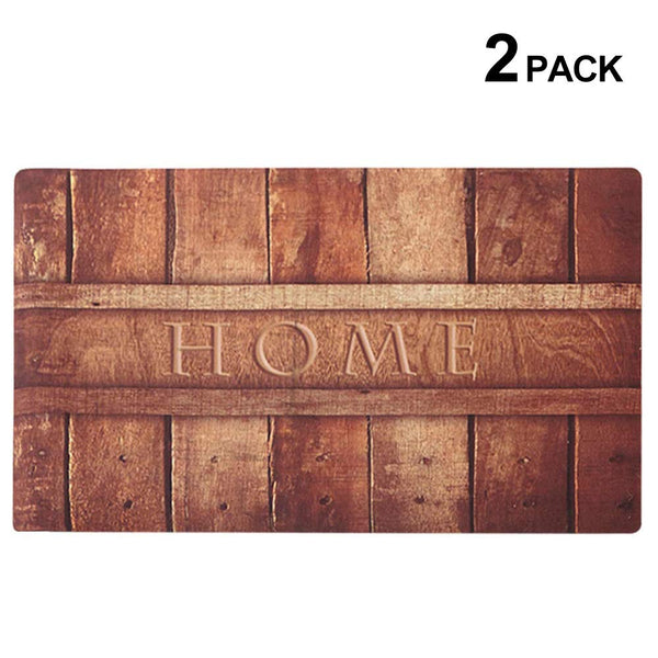 Rubber Indoor Doormat Rustic Entrance Welcome Mat 30X18 Heavy Duty Low Profile Front Door Mat Home Decor Non Slip Entryway Rug for Apartment Garage Kitchen Wood Words Inside Shoe Scraper Floor Carpet