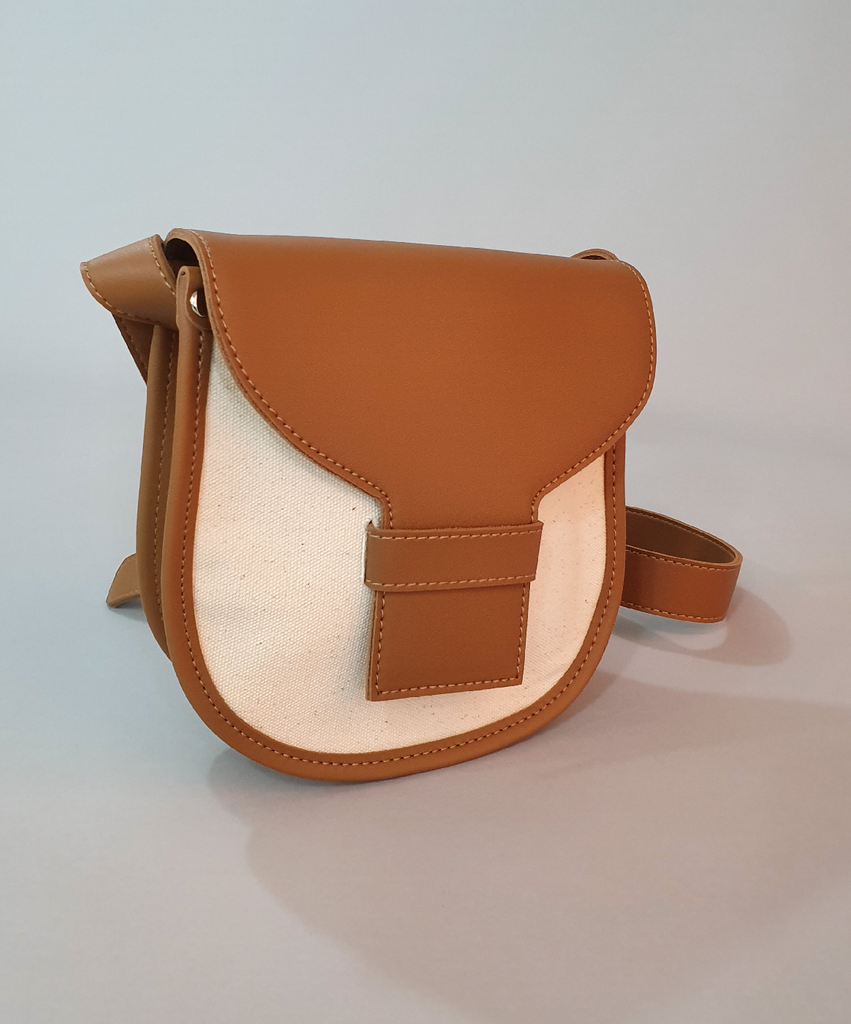 Two Tone Leather Trim Shoulder Bag  BROWN