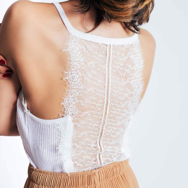 Bombshell Lace Tank Top (Blk,Wht)
