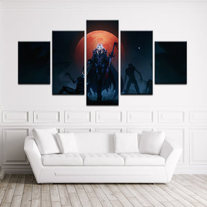 World Of Warcraft 5 Pieces Frame Canvas Painting - Death Knight