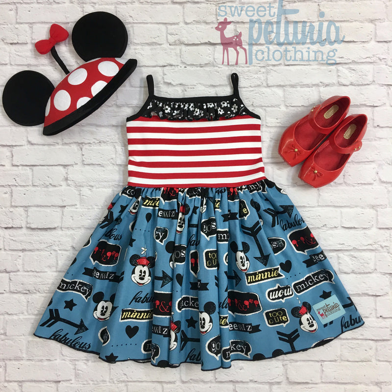 Retro Blue Minnie and Mickey Eva Dresss