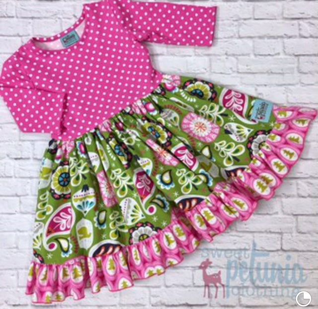 Pink and White Dot Ornament Twirl Dress