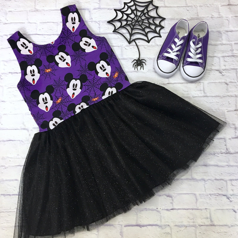 Purple Scary Mickey Lucy Dress with Black Sparkle Mesh