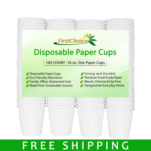 Disposable White Paper Cups - 16oz - 100 Count - Plastic Cup Alternative