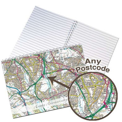 Personalised Present Day Map A5 Notebook