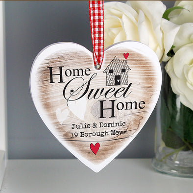Personalised Home Sweet Home Wooden Heart Shaped Decoration