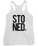 Stoned Co Logo Women's Racerback Tank - White