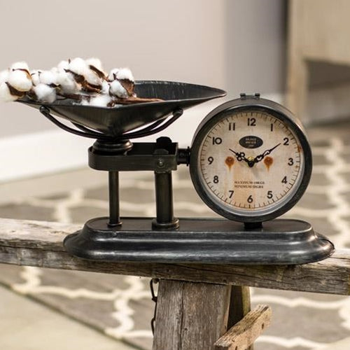 Antiqued Scale with Clock - Old-Time-Shoppe