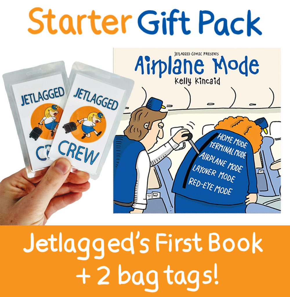 Jetlagged Comic Starter Gift Pack includes 1 book and 2 bag tags.