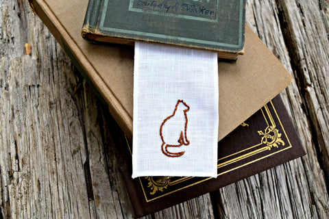 Hand Embroidered Cat Bookmark for Bibliophiles