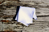 White Irish Linen Pocket Square : Handkerchief with Narrow Rolled Hem