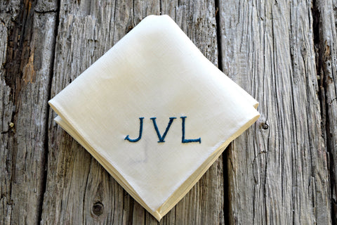 Cream Monogrammed Irish Linen Handkerchief with Three Initials: Modern Chic