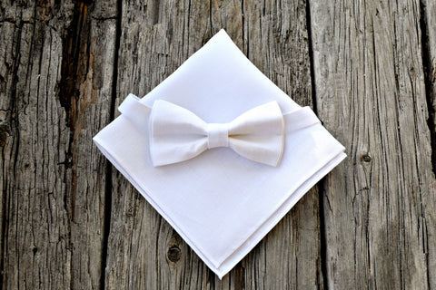White Irish Linen Bow Tie and Pocket Square Set