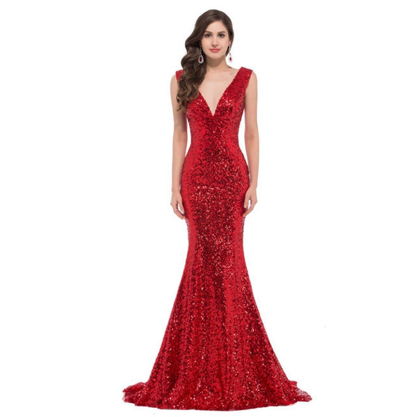 Sexy sequined red prom dresses long deep v neck 2019